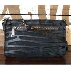 Patricia Nash Black Leather Suede Shoulder Bag